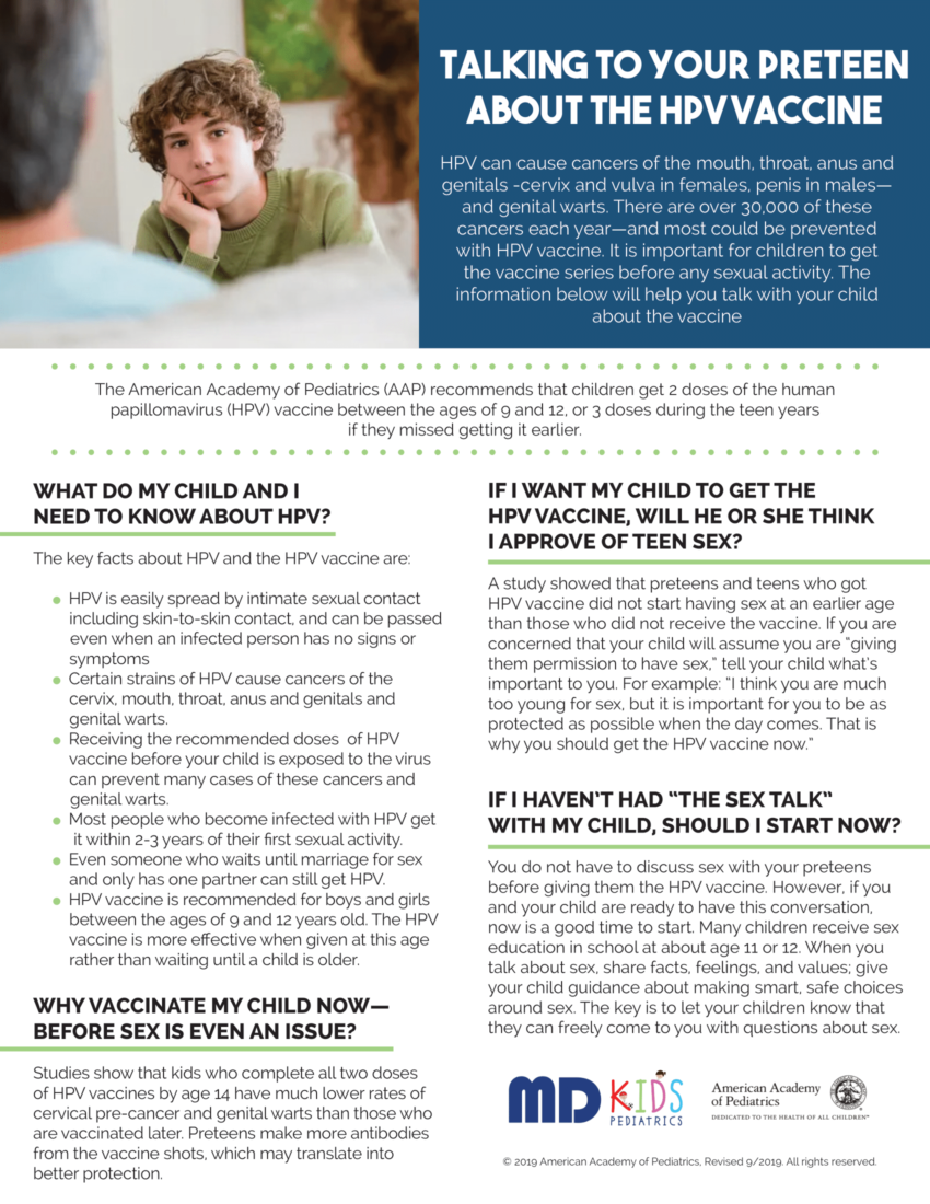 Talking to your Preteen about the HPV Vaccine